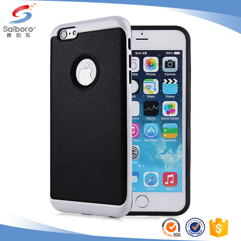 leather protective 2 in 1 back cover armor phone case for iPhone 6