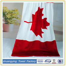 China Supplier Custom Cotton Reactive Printing Canada Flag Beach Towel
