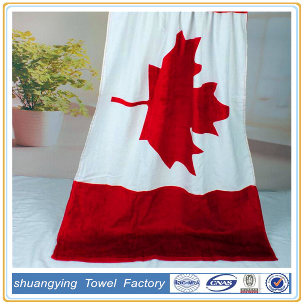 China Supplier Custom Cotton Reactive Printing Canadian Flag Beach Towel