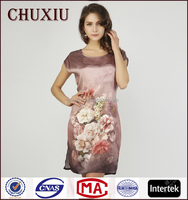 Chuxiu silk digital printing long sex silk satin silk nightgowns