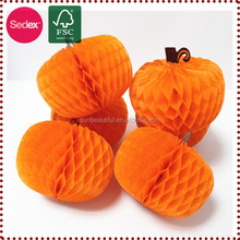 Large tissue paper honeycomb artificial craft pumpkins for Halloween decoration