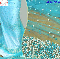 2016 new style tulle lace fabric CL6972-3 blue beads+stones french lace fabric/net lace for dating, party or wedding