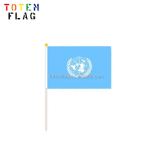 100% Polyester Cheap Custom logo Printed Hand Held Flags with Plastic Flag Pole for Promotion