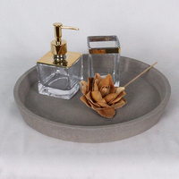 Condiment Set Vinegar & Oil Salt & Pepper In Gold Dot With Tray
