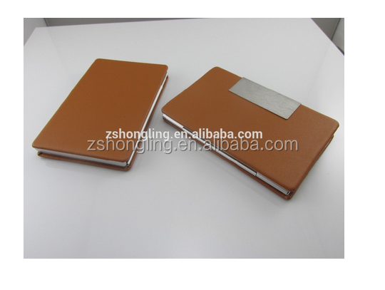 High quality leather and metal bussiness card holder