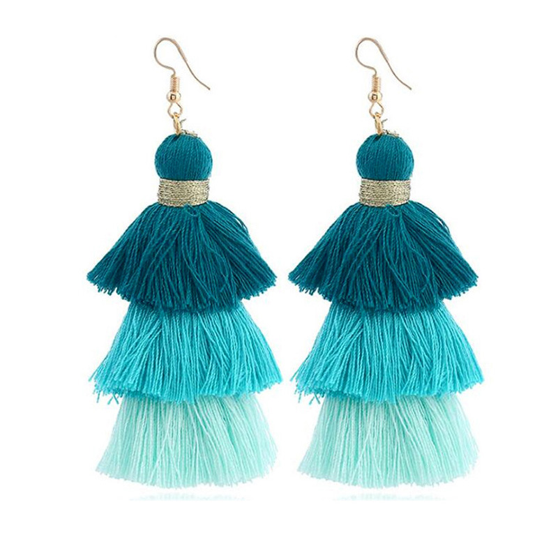Wholesale Creative Bohemia Multilayer Multicolor Tassel <strong>Earrings</strong> in Alloy Jewelry