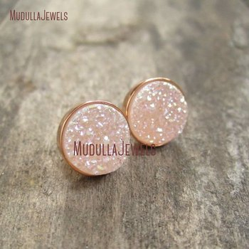 ER16545 Natural Druzy Rose Gold Druzy Studs Earrings Drusy Quartz Jewelry Stud Earrings Drusy Earrings