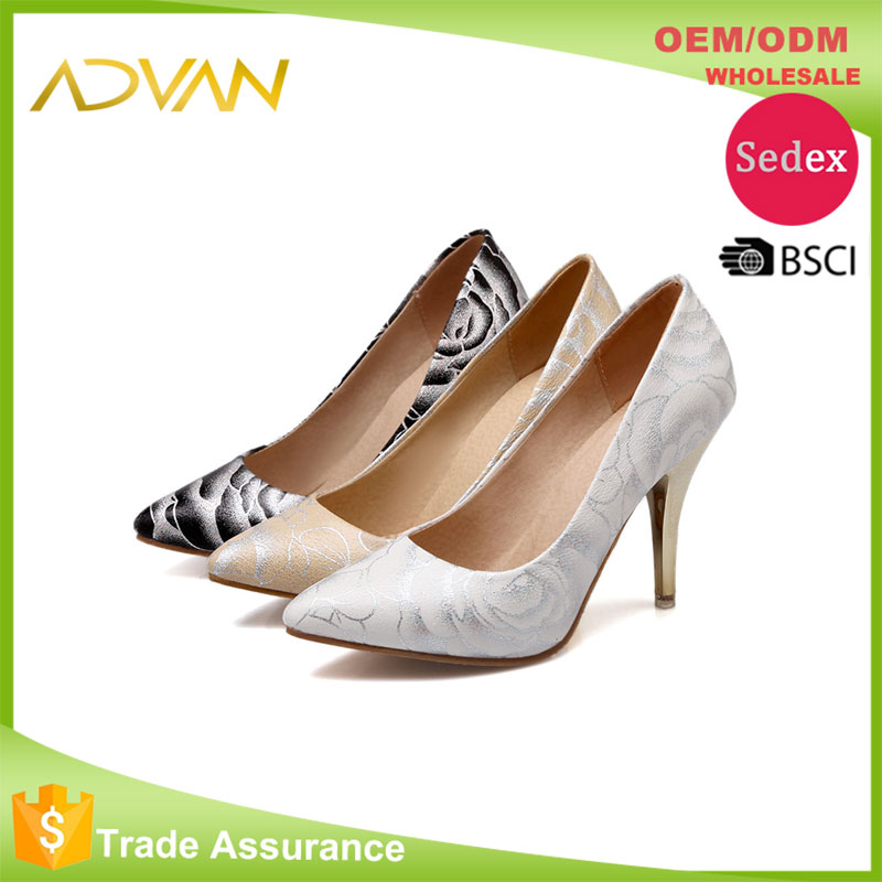 Wholesale Dress Shoes Women Flower Pattern High <strong>Heel</strong> Pointed Toe Slip On Sexy Ladies Shoes