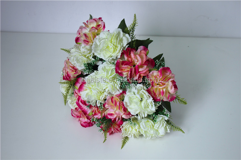 Silk Real Looking Flower Bouquet Carnation Rose Bulk