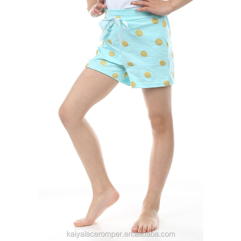 Baby Organic Cotton Shorts,Gold Polka Dot Kids Shorts,Wholesale Baby Clothing