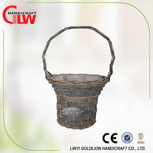 Round hat wicker basket with over handle and plastic liners decoratived by plaster colth used for Home and Garden