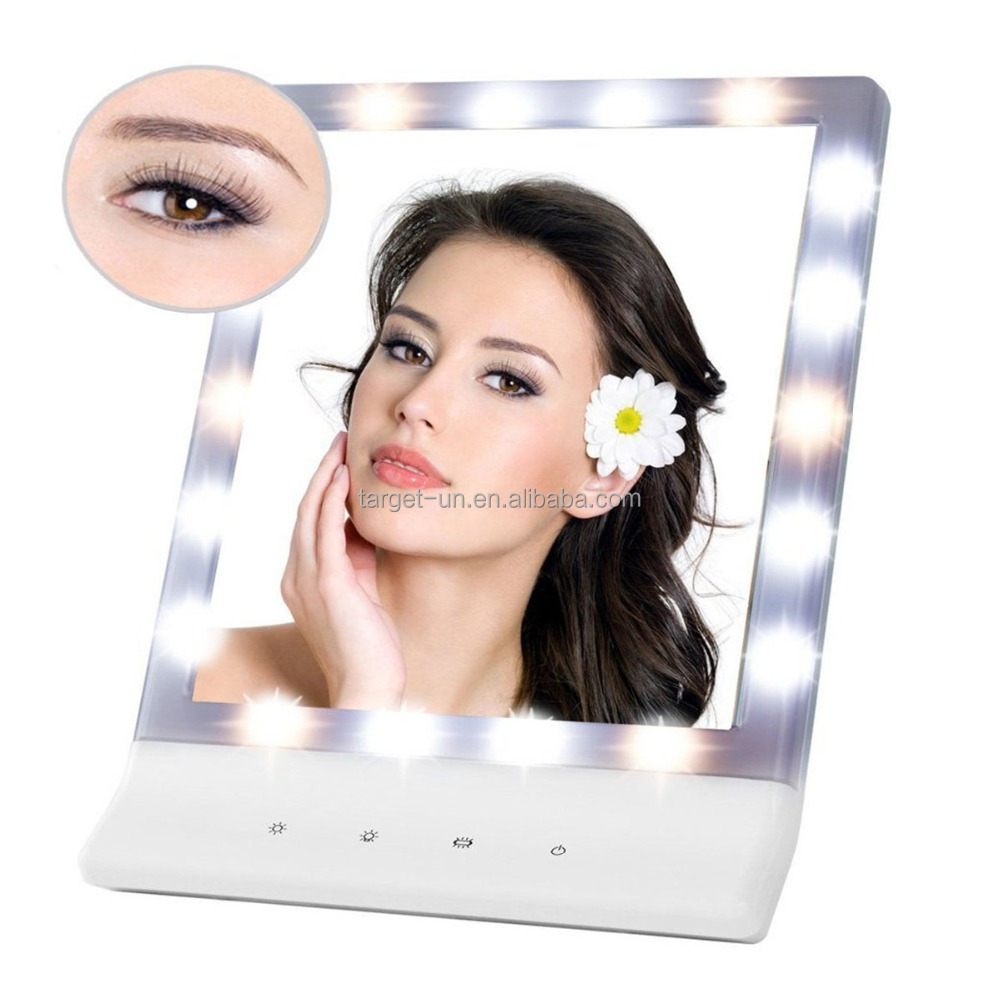 18 LED Lights Large Screen Multiple Illumination Settings Cosmetic Mirror Smart Touch Wall Mount Makeup Mirror