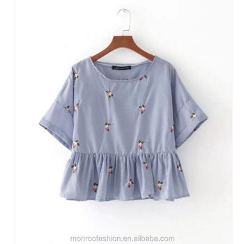 monroo New Fashion Women Vintage Embroidery Short Sleeve Hem Ruffle Blouses Shirts lady striped loose Feminine BlusasTops SB1063