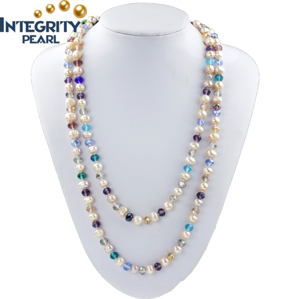 fashion 8mm potato mixed color freshwater pearl crystal beads women jewelry necklace