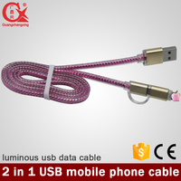 1m 2016 new style high quality cheap price with led light 2in1usb 2.0 cable