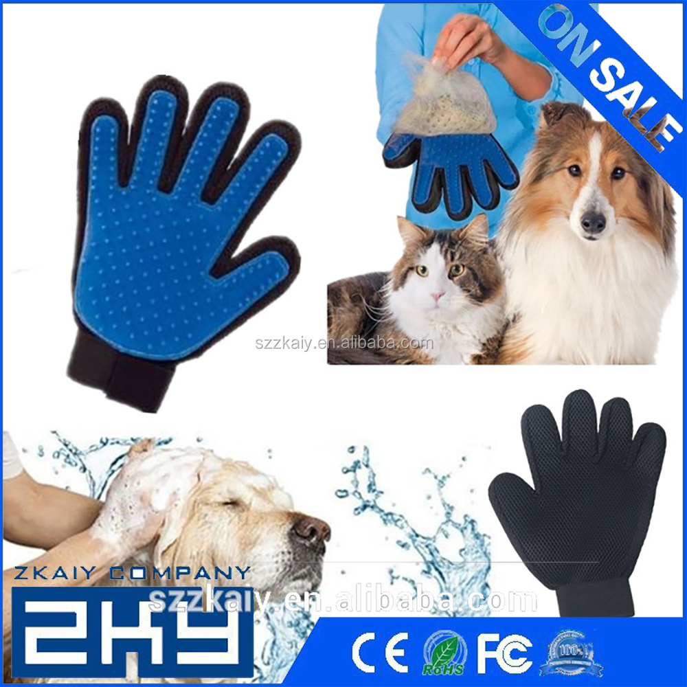 Product Silicone Massage True Touch Glove Deshed Gentle Efficient Pet Grooming Bath Pet Supplies