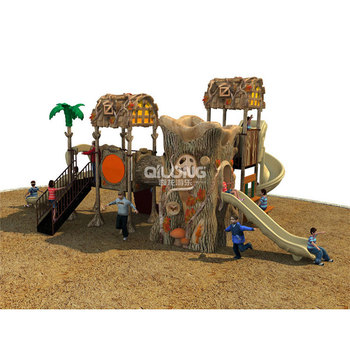 Unique Wooden Shape Children Outdoor Playground Equipment With Slide