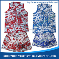 Wholesale Custom Latest Basketball Jersey and shorts Design dye sublimated camo reversible basketball jerseys with Logo design