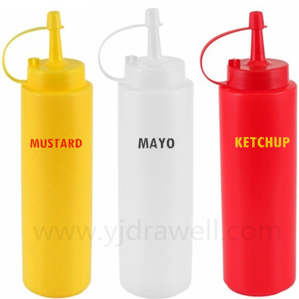 CB-3255 Food Grade Plastic Squeeze Bottles For Ketchup Mayo Mustard