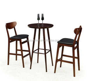 solid wood high top bar tables and chairs for night club/bar/pub wholesale Guangzhou(FOH-BCA69)