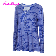 4 Colors Casual Women Lacing Long Sleeve Loose Camouflage Blue Blouse