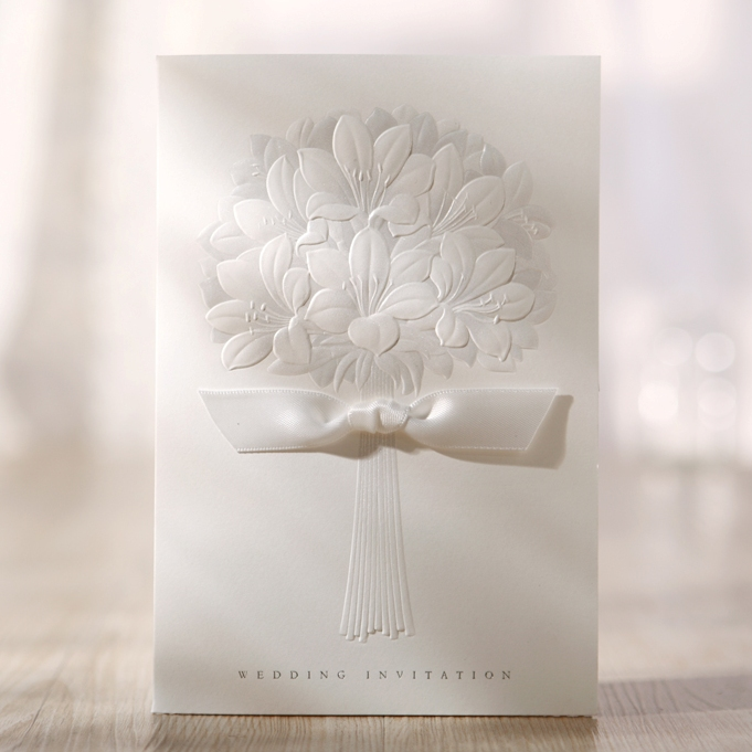 Cheap Wedding Invitation with Embossed Bouquet, Free Print, BH3201