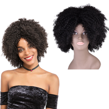 Cheap Short Afro Kinky Curly synthetic wigs for black women