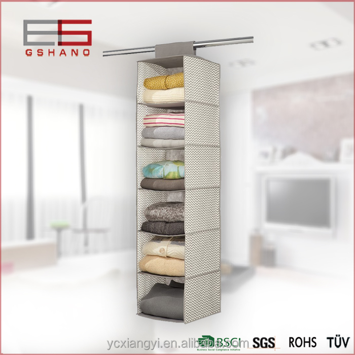 Fashion Color Canvas Hanging Closet Organizer Accessory 6 Shelves