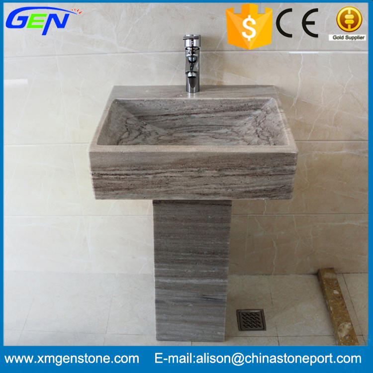 High Quality Natural Marble Stone Pedestal Sink