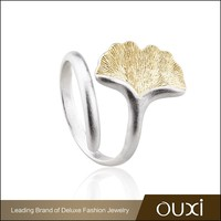 OUXI wholesale fashion 18k gold jewelry gold plated 925 Sterling Silver ring crystal jewelry