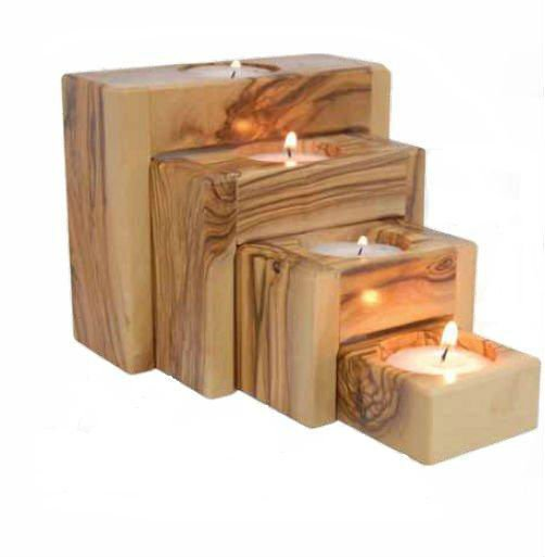 hand made Olive Wood Tealight Holder set of 4 pieces