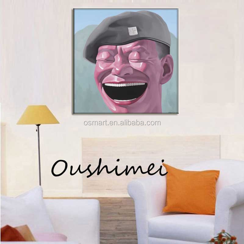 Wearing army grey hat the big man was laughing funny is full of yearning for life 100% handmade oil painting in canvas