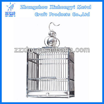 Stainless steel folding square bird cage with drawer bottom tray
