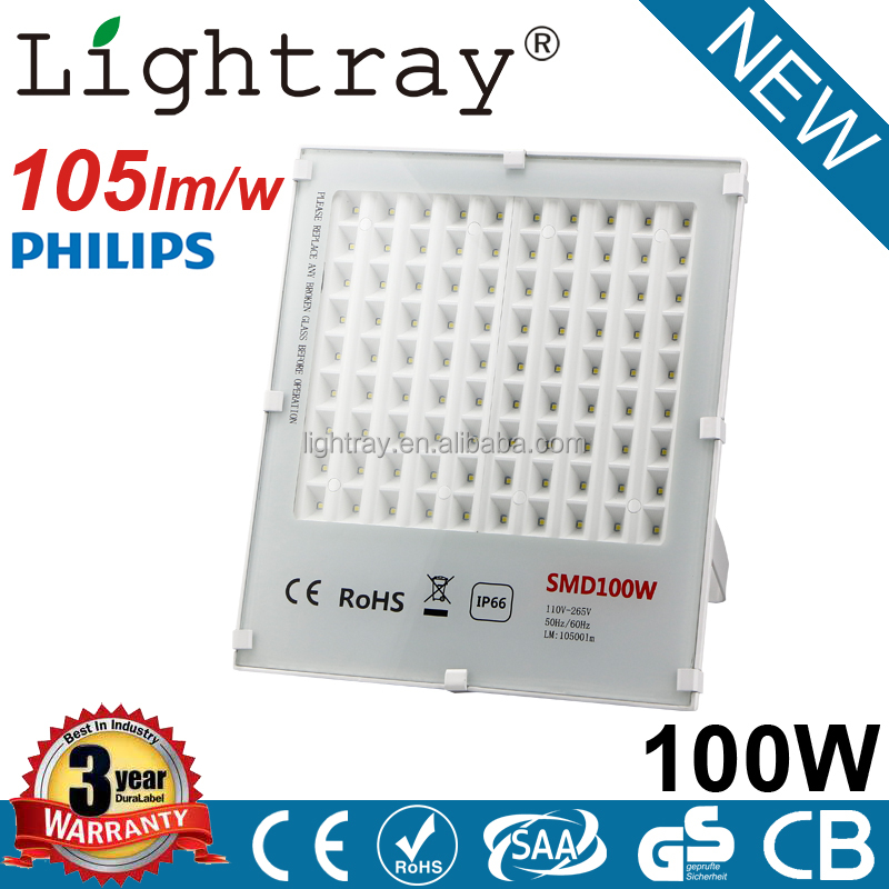 105lm/w 3 years warranty outdoor 100w led flood light with PHILIPS chips CE ROHS IP66