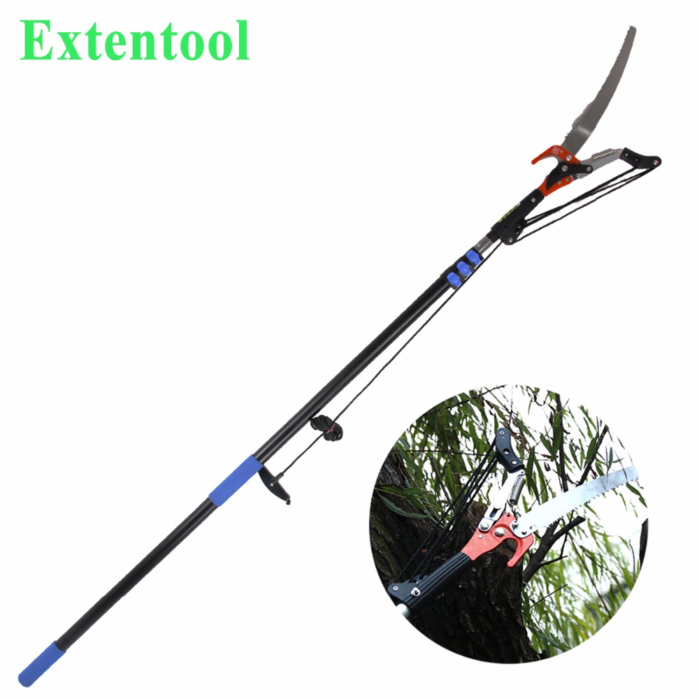 Long length telescopic tree pruner with long handle for pruning garden tools