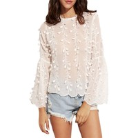Womens Blouses and Tops For White Flower Applique Lace Up V Back Embroidered Blouse
