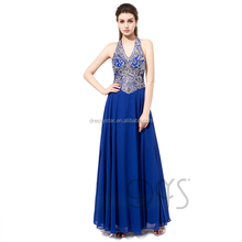 Latest Designer One Piece Royal Blue Sparkles Beaded Halter Top Revealing Prom Dress