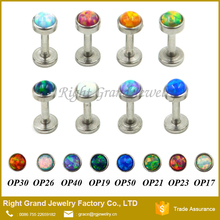 316L Surgical Steel Internally Threaded Opal Labret Helix Cartilage Tragus Lip Bar