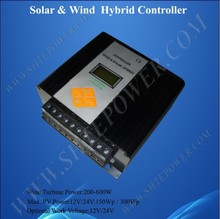 600w Hybrid charge controller for wind turbine, 12/24v intelligent solar battery charge controller
