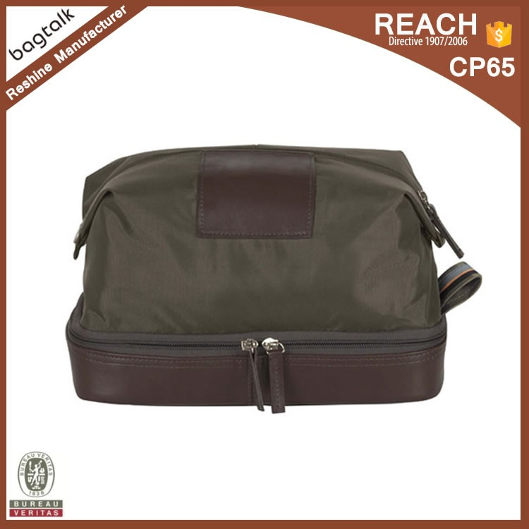 CT376 High Quality Dark Green Two Compartment Nylon Toiletry Bag For Men