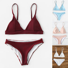 100% Cotton 2 Piece Ribbed Reversible Triangle Swimsuits Fashion Women