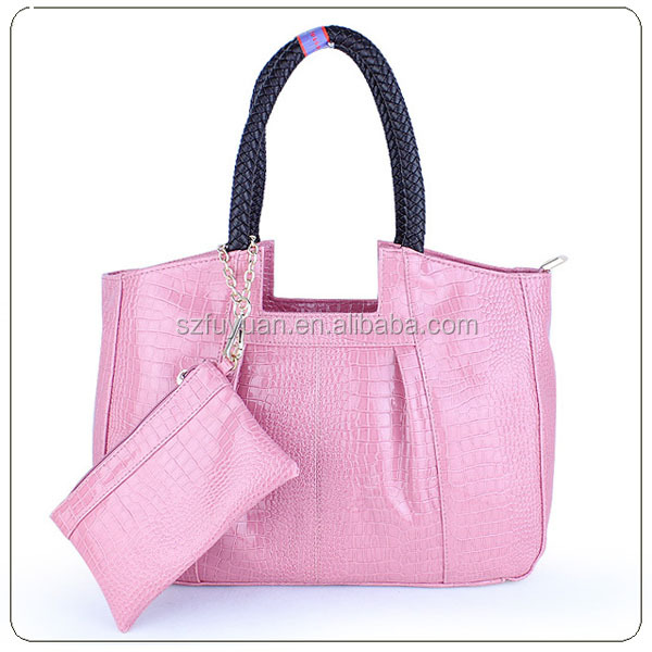 Wholesale korea fashion trend crocodile leather design pink ladies handbag with china manufacturer