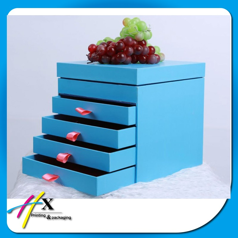 High Quanlity Blue UV Varnish Cosmetic Paper Gift Storage Box with Drawers