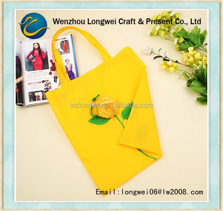 rose shaped folding shopping bag/cheap shopping bags