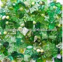 mixed glass pressed beads green series