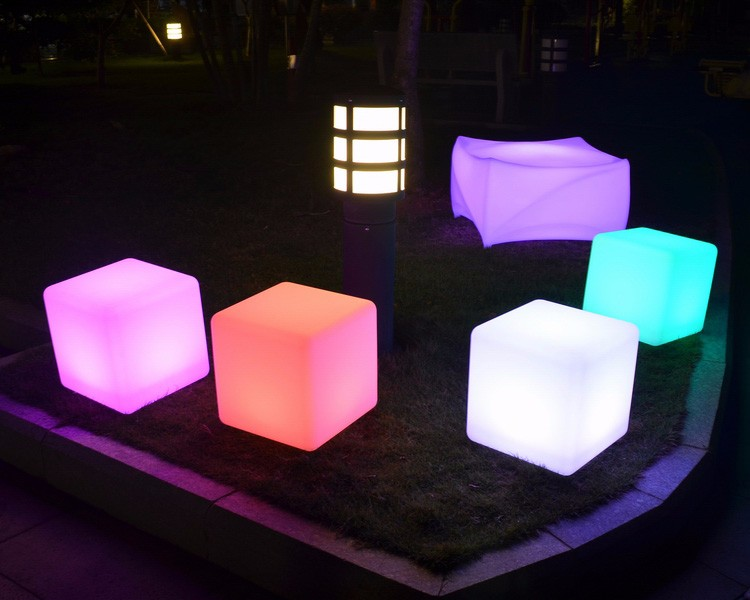 glow cubes illuminated,rechargeable waterproof glowing cube table and chair,colorful led cube lighting
