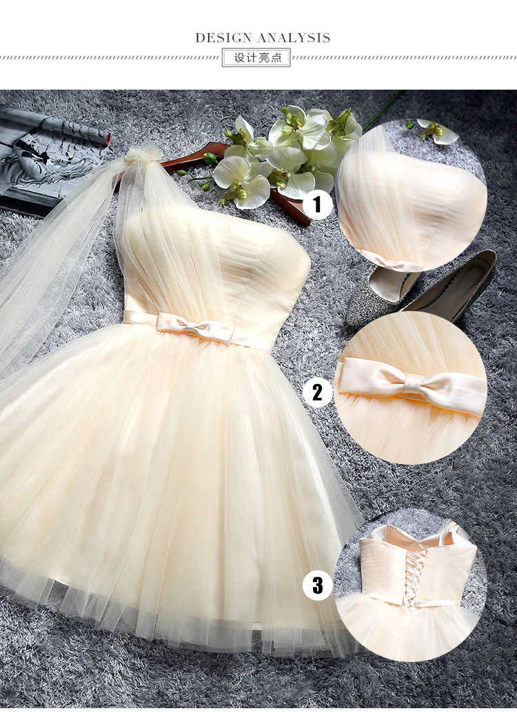 JS 24 Western Marriage Wedding Party Gown Knee Length Champagne Bridesmaid Dress Wholesale 001