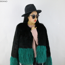 New Desgin Fake Lamband Mink Fur Woman Faux Fur Patchwork Coat