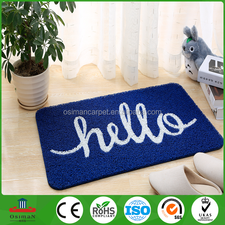 China Factory Home Floor Loop Door Mesh Outdoor Rug Pvc Coil Roll Print Spaghetti Plastic Welcome Mat