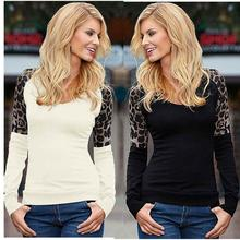 Europe and the United States and explosion of long sleeved T-shirt casual jacket leopard stitching all-match elegant coat primer